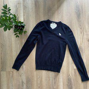 A&F Navy Blue V-Neck Thin-Knit Sweater